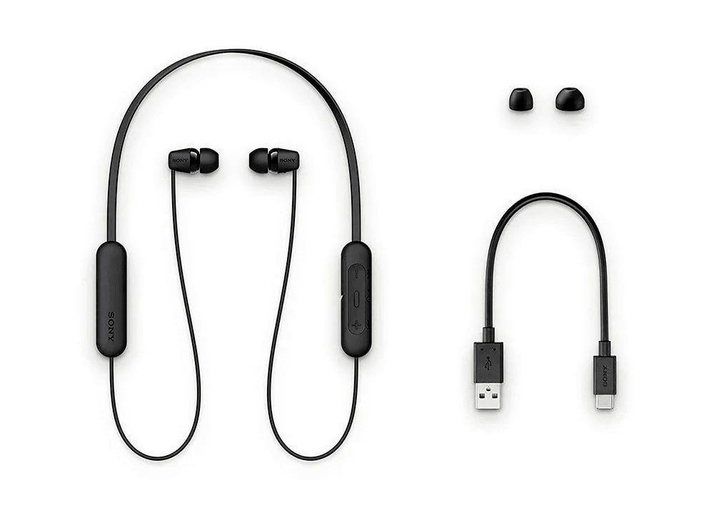 Fone de Ouvido Sem Fio Sony WI-C200 Preto Bluetooth 5.0 Função Voice Assistent Bateria Até 15 Horas