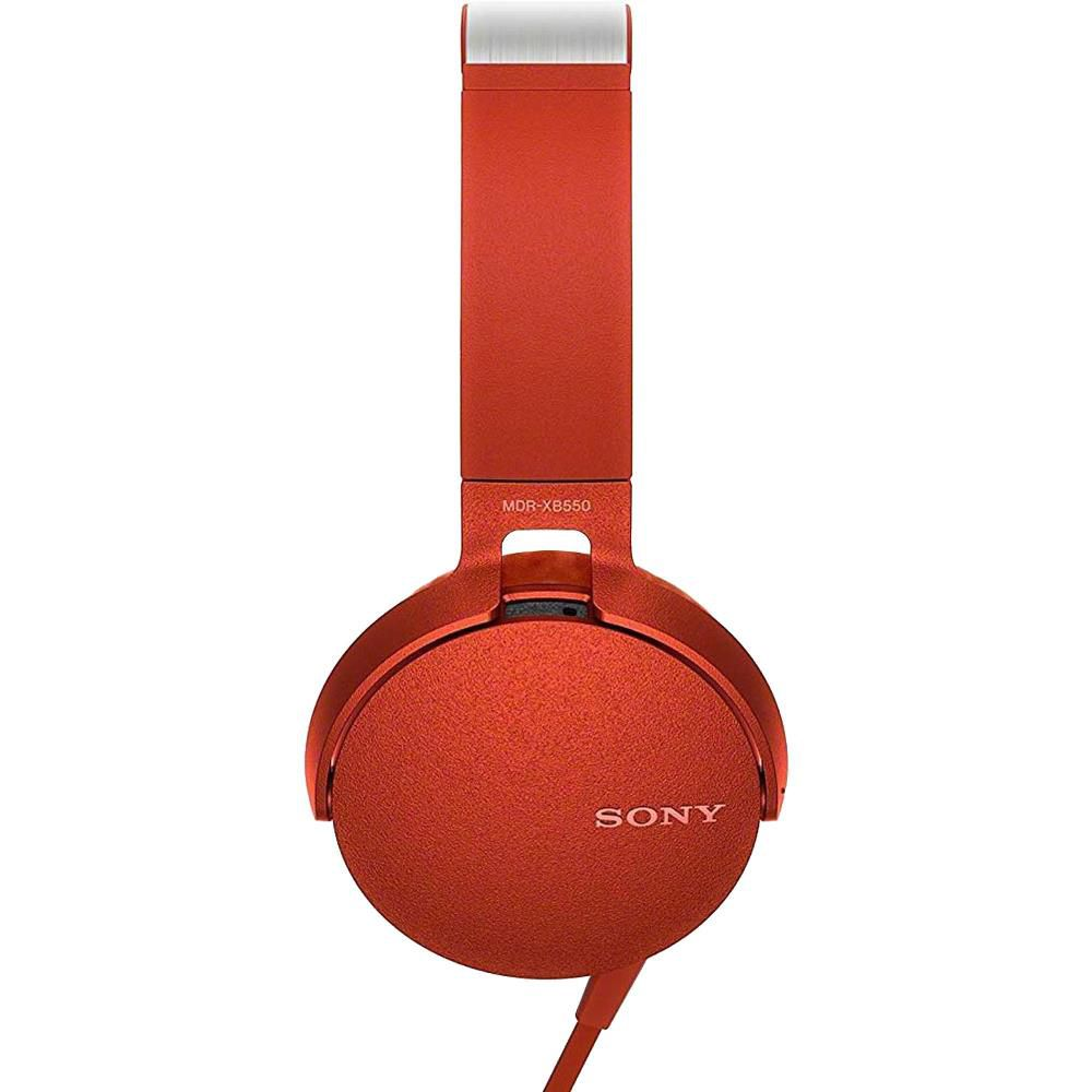 Fone de Ouvido Sony com Microfone  MDR-XB550AP Lançamento - Vermelho