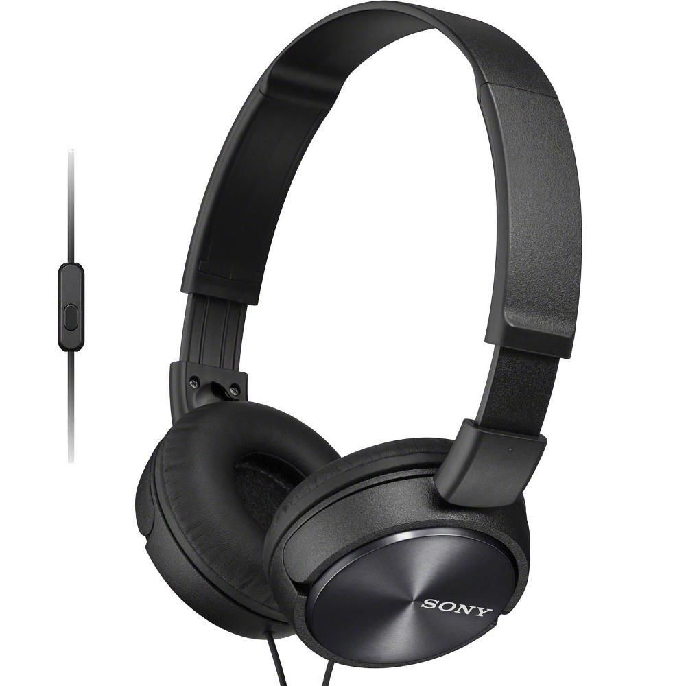 Fone de Ouvido Sony MDR-ZX310AP Preto Headphone Dobrável Headset Com Microfone Integrado