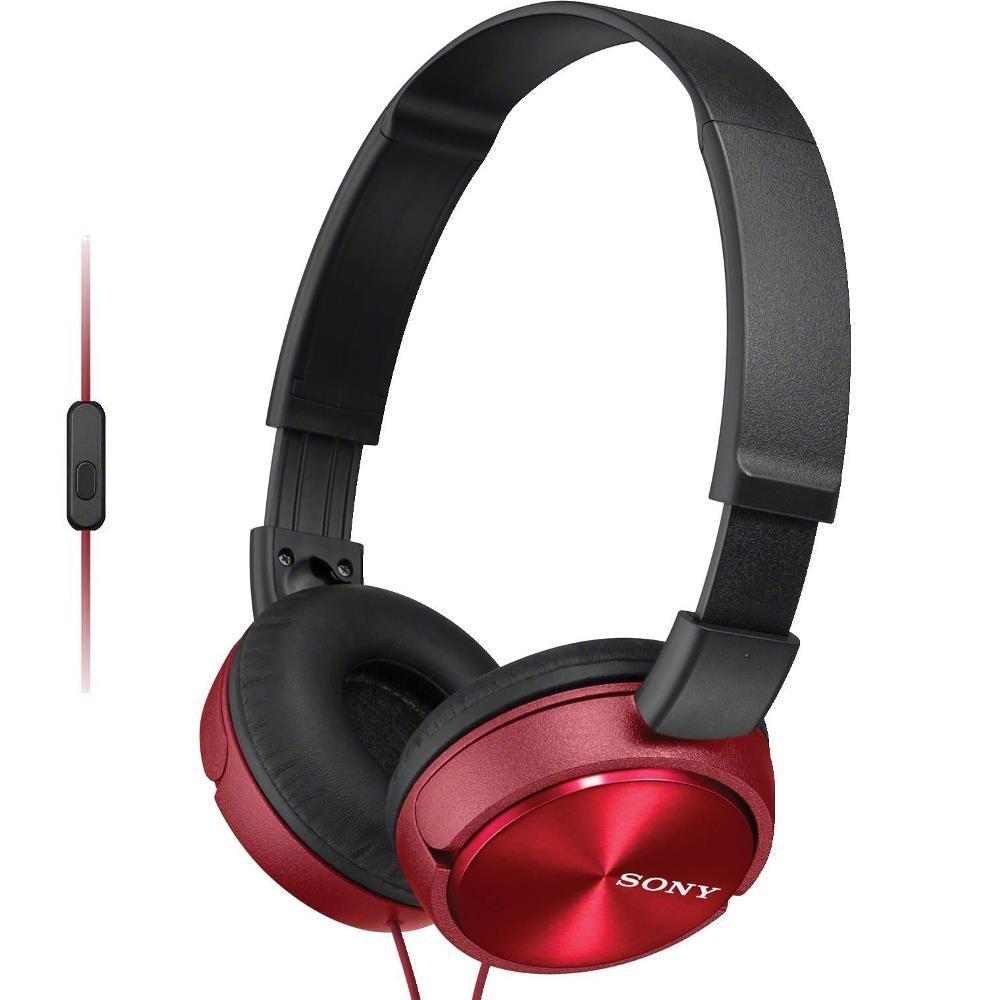 Fone de Ouvido Sony MDR-ZX310AP Vermelho Preto Headphone Dobrável Com Microfone Integrado