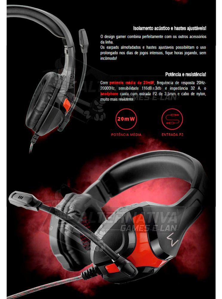Headset Gamer Warrior Harve Multilaser PH101 Fone de Ouvido com Microfone