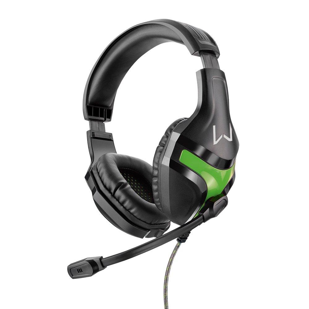 Headset Gamer Warrior Harve Multilaser PH298 Verde Super Bass Fone de Ouvido com Microfone 2 Plug P2