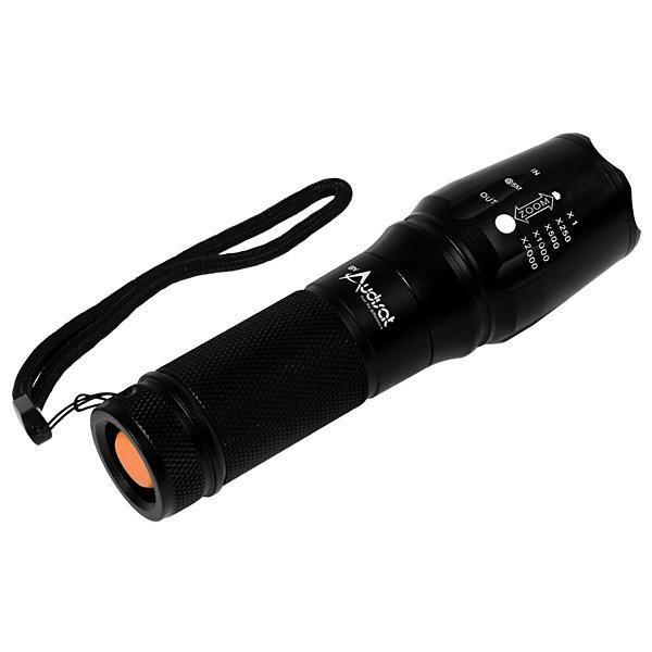 Lanterna Tática LED de Alumínio Audisat X900 com Zoom e Bateria