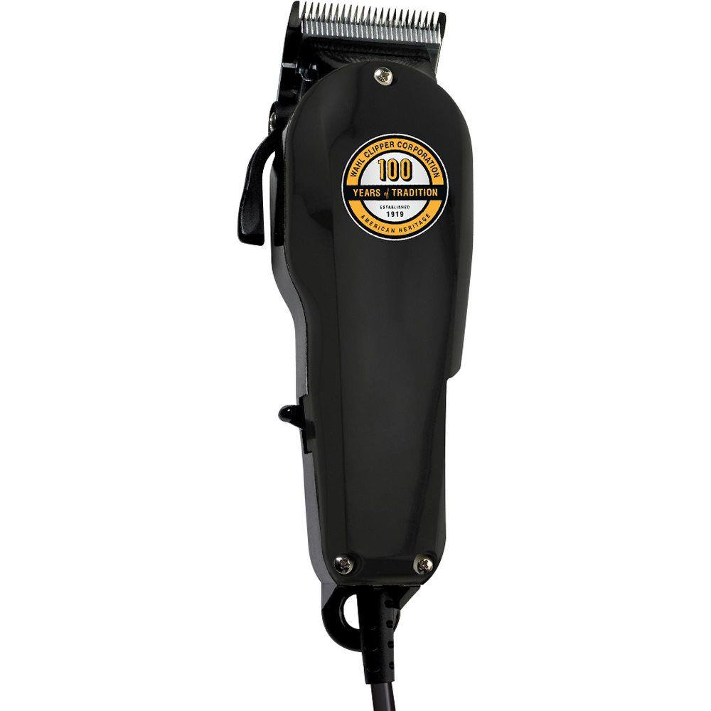 Máquina de Cortar Cabelo Profissional Wahl Super Taper Black 100 Anos 220V Aparador Ajuste de Lâmina
