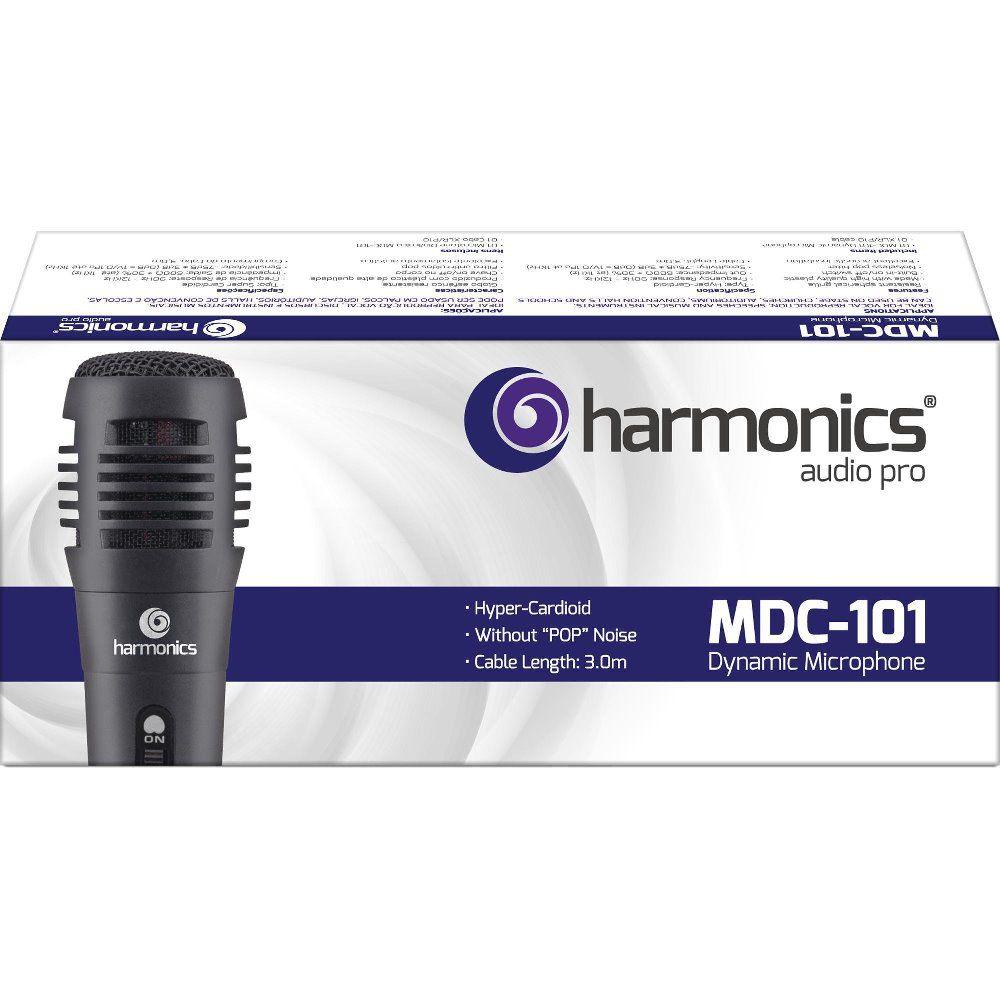 Microfone Harmonics MDC101 Dinâmico Supercardióide com Cabo de 3 Metros