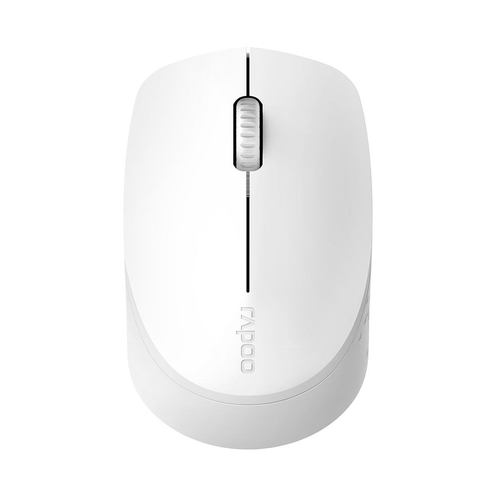 Mouse Sem Fio Bluetooth + Wireless 2.4Ghz M100 Silent Rapoo RA010 Branco para Tablet Smartphone Notebook PC