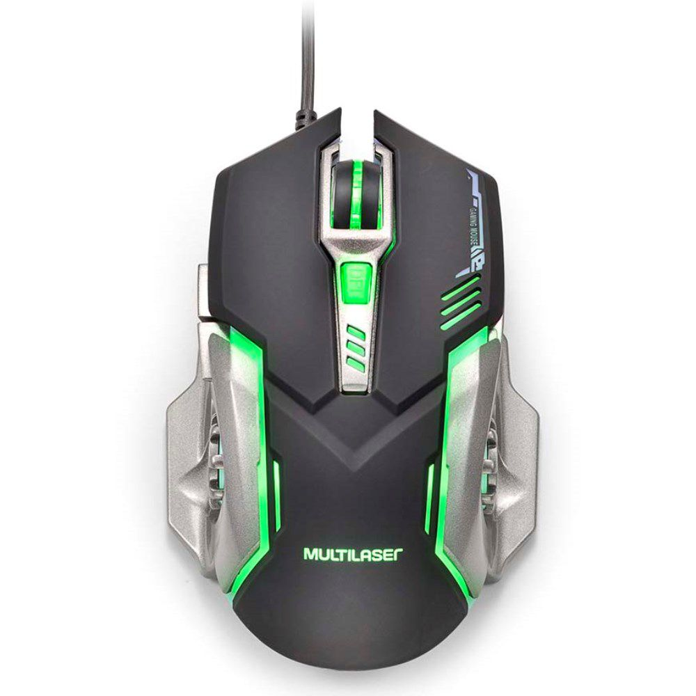 Mouse Gamer Multilaser MO269 com LED Verde 2400 DPI