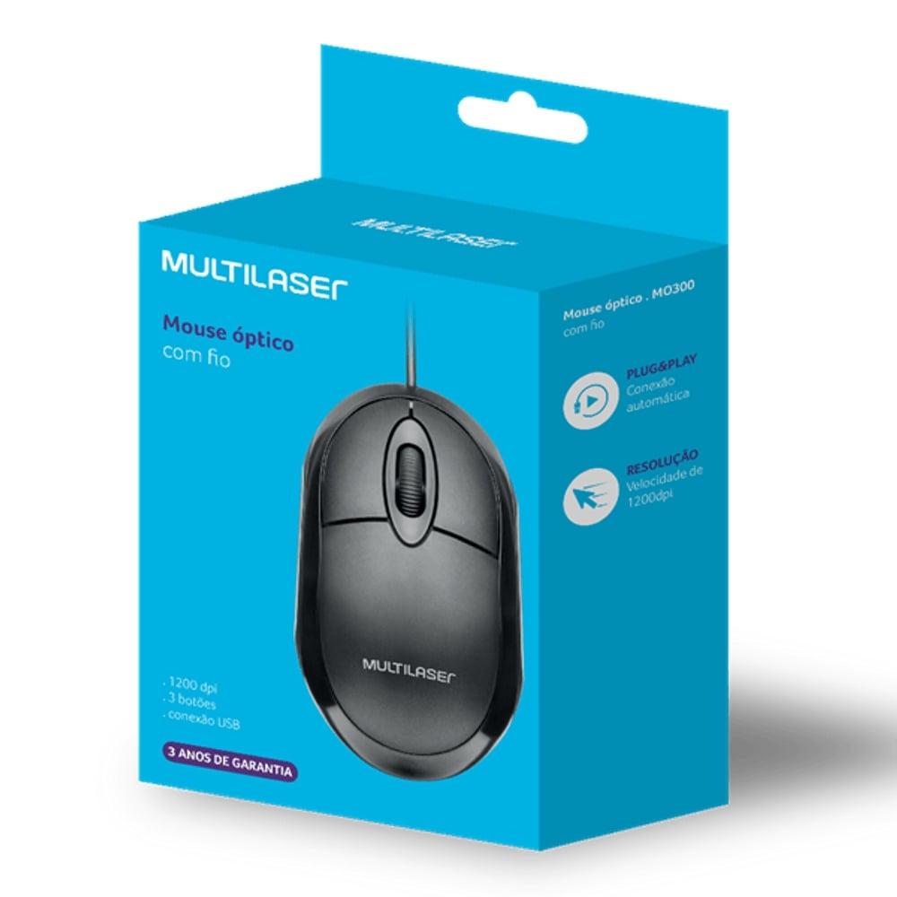 Mouse Óptico Com Fio Básico Multilaser MO300 Preto Leve e Confortável 1200DPI 3 Botões Conexão USB