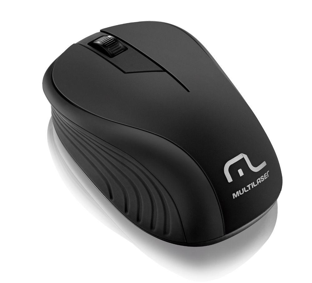 Mouse Wireless Sem Fio 2.4Ghz Preto USB Multilaser Wave - Preto