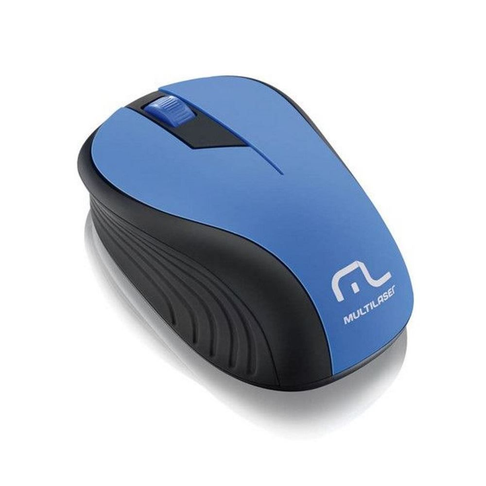 Mouse Wireless Sem Fio 2.4Ghz Preto USB Multilaser Wave - Azul