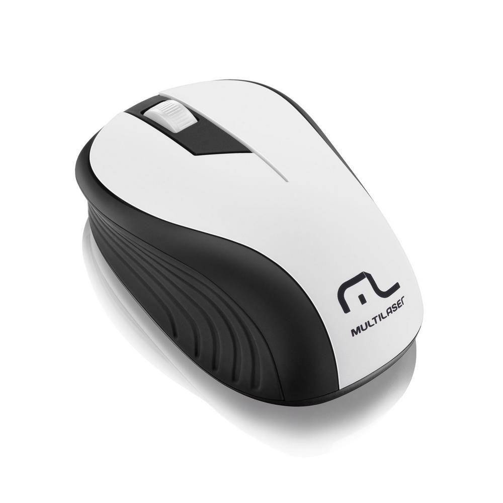 Mouse Wireless Sem Fio 2.4Ghz Preto USB Multilaser Wave - Branco