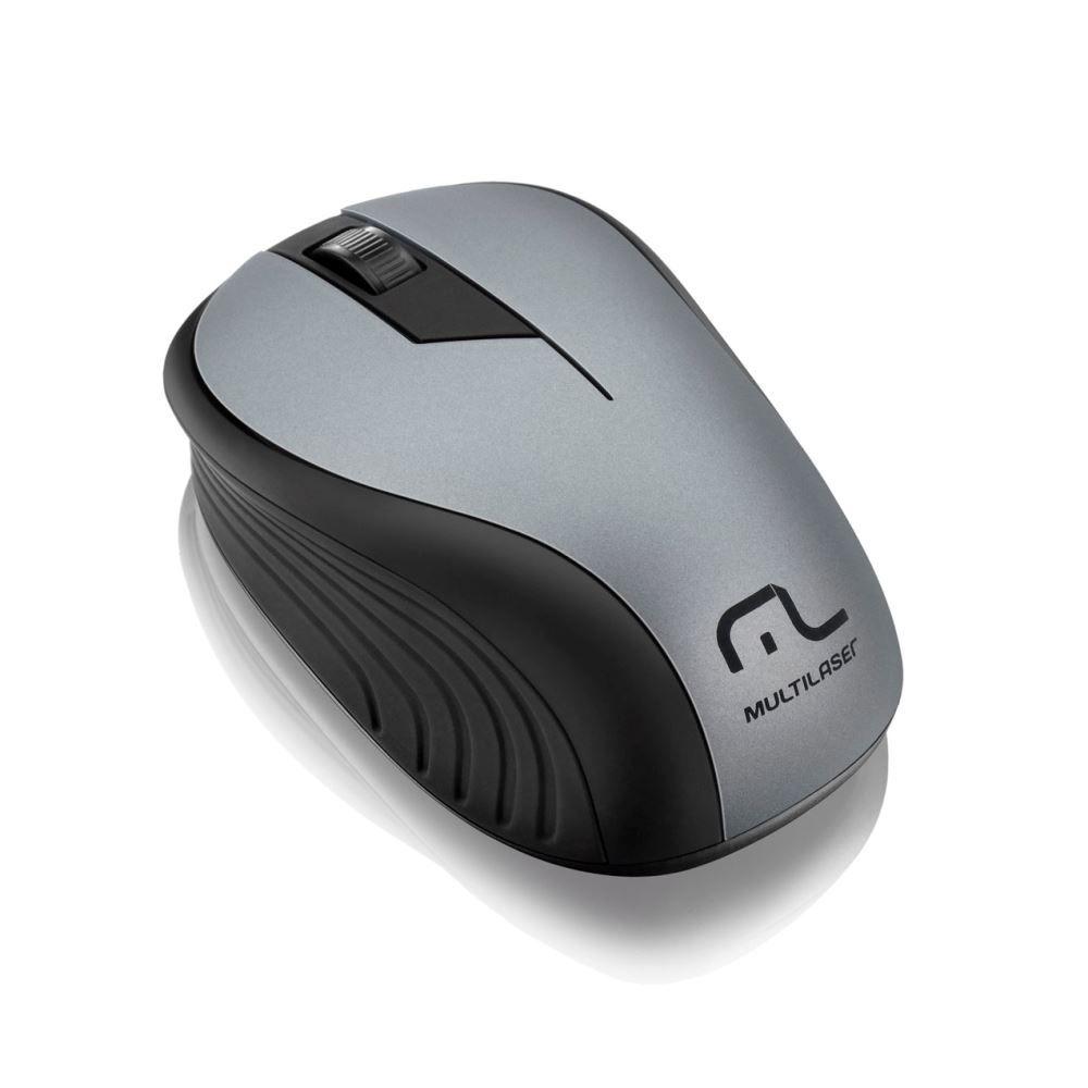 Mouse Wireless Sem Fio 2.4Ghz Preto USB Multilaser Wave - Cinza