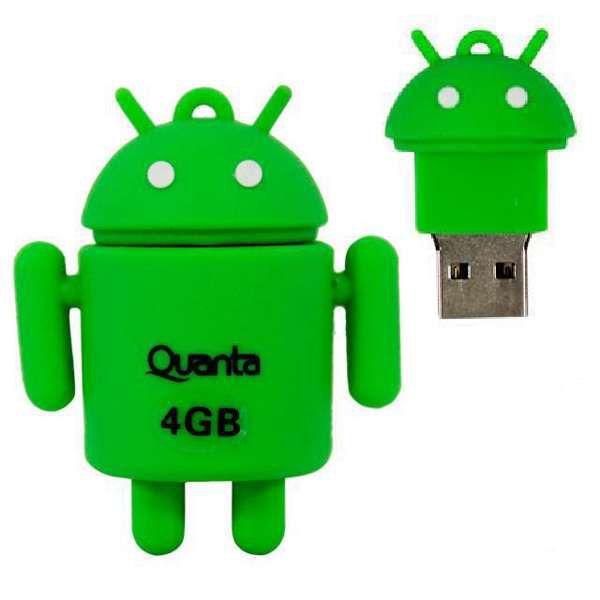 Pen Drive Boneco Mascote Android 4GB Emborrachado Chaveiro
