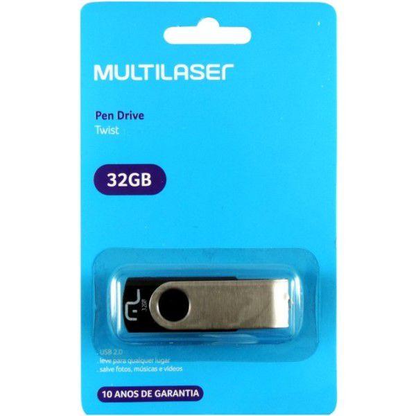 Pen Drive Multilaser TWIST PD589 USB 2.0 Preto 32GB