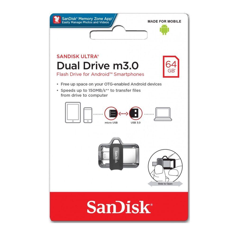 Pen Drive Sandisk Ultra Dual Drive m3.0 64GB