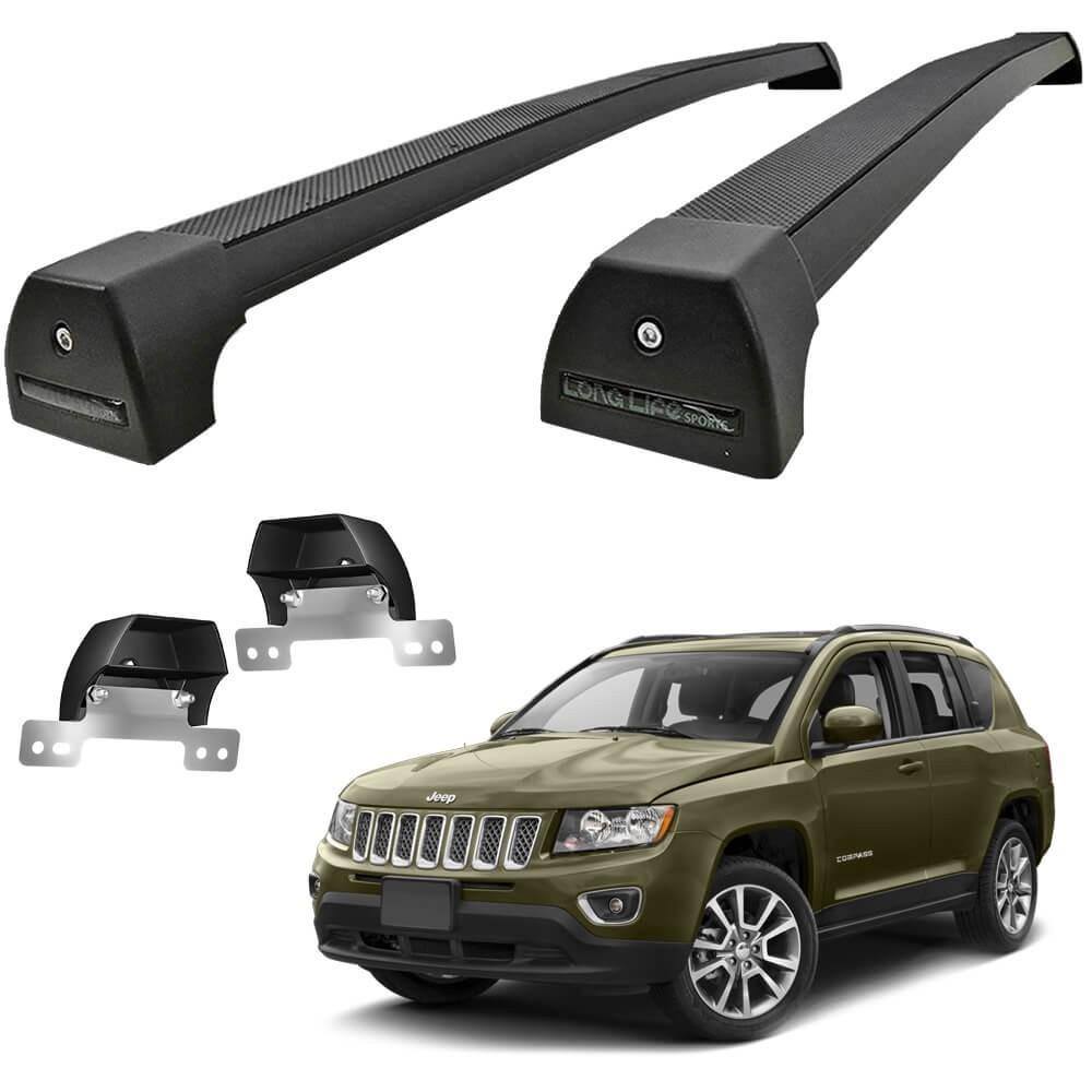 Rack Jeep Compass 2017 2018 2019 2020 2021 Alumínio Preto Long Life PCPS Travessa de Teto Larga 40KG