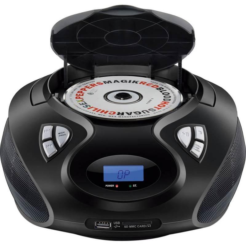 Rádio Boombox CD Player Multilaser SP178 Preto 5 em 1 Rádio FM Entrada USB Cartão SD MP3 AUX
