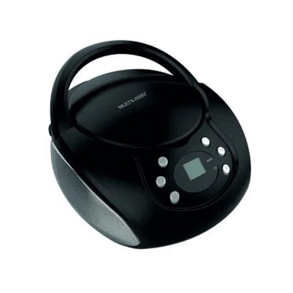 Rádio Boombox CD Player Multilaser SP337 Preto 20 Watts Rádio FM Entrada para Pendrive USB Auxiliar