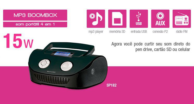 Rádio Boombox Multilaser SP182 com Entrada para Pen Drive MP3 Player