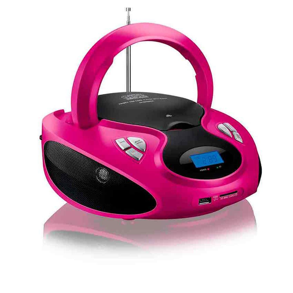 Rádio Boombox Toca CD Multilaser SP179 Rosa MP3 Player Rádio FM USB SD AUX