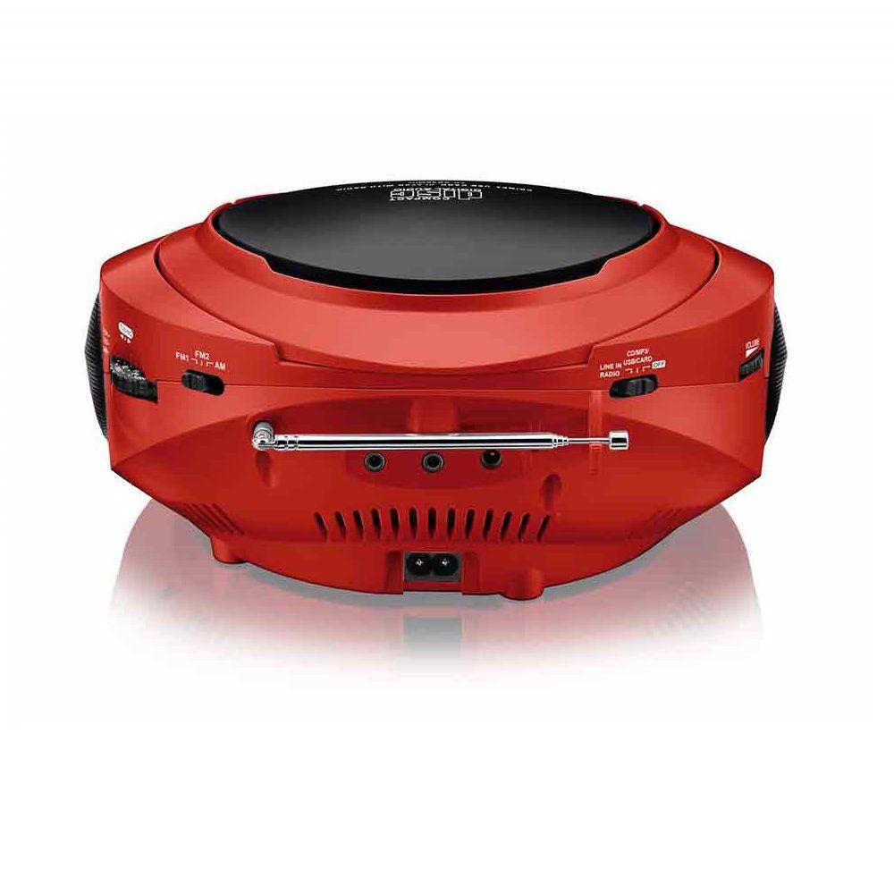 Rádio Boombox Toca CD Multilaser SP180 Vermelho MP3 Player Rádio FM USB SD AUX