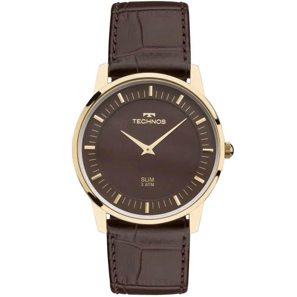 Relógio Clássico Technos Unissex Classic Slim Dourado Leve Fino Pulseira de Couro Marrom GL20HJ/2M