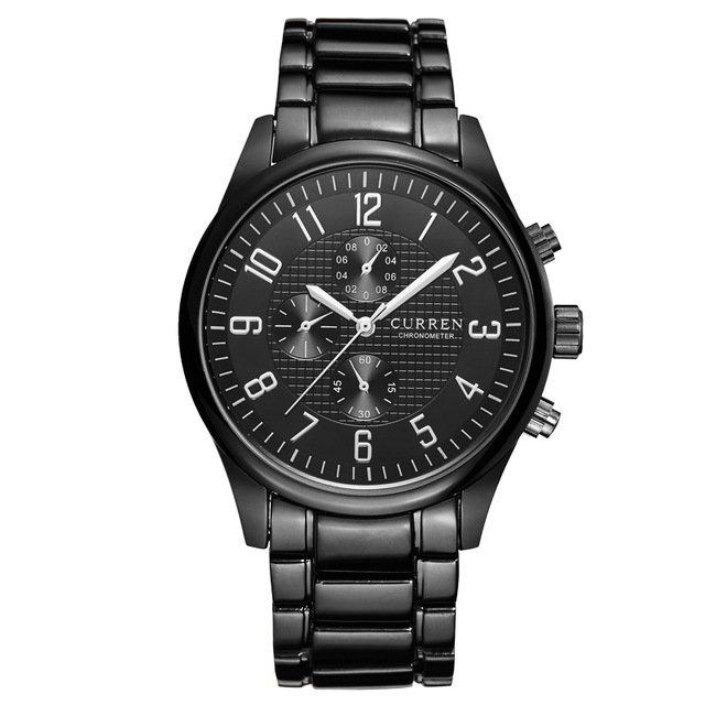 Relógio de Pulso Masculino Curren 8046 Preto Clássico Social Aço Inoxidável Pulseira Preta