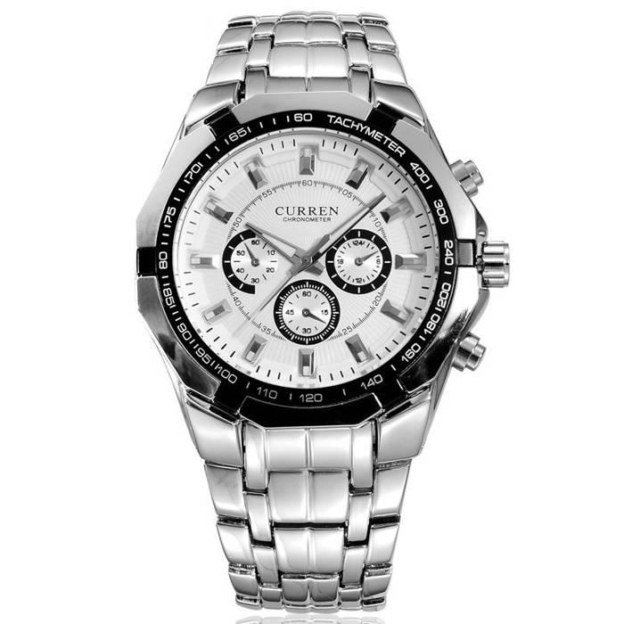 Relógio de Pulso Masculino Curren 8084 Branco Clássico Social Aço Inoxidável Pulseira Prata Prateado