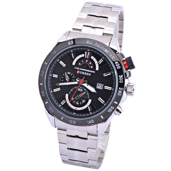 Relógio de Pulso Masculino Curren 8148 Prata Preto Sport Pulseira Prateada Aço Inoxidável
