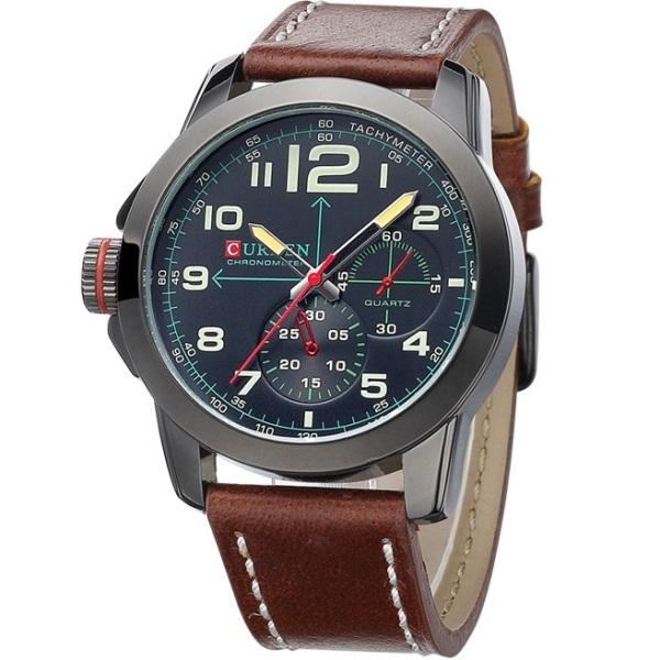 Relógio de Pulso Masculino Curren 8182 Preto Sport Pulseira de Couro Marrom
