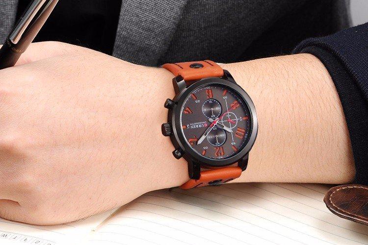 Relógio de Pulso Masculino Curren 8192 Preto Sport Pulseira de Couro Marrom