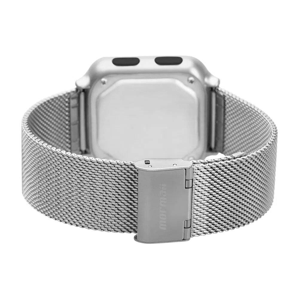 Relógio Digital Mormaii Digi Prata À Prova D'água Pulseira Mesh de Aço Cronógrafo Alarme MO6600AK/7K
