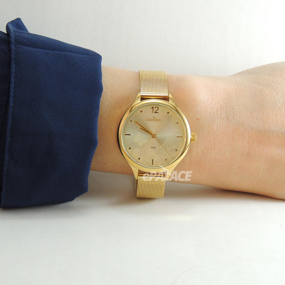 Relógio Feminino Condor Dourado Luxuoso Analógico Pulseira Mesh Aço Inoxidável CO2036MUY/K4D + Colar