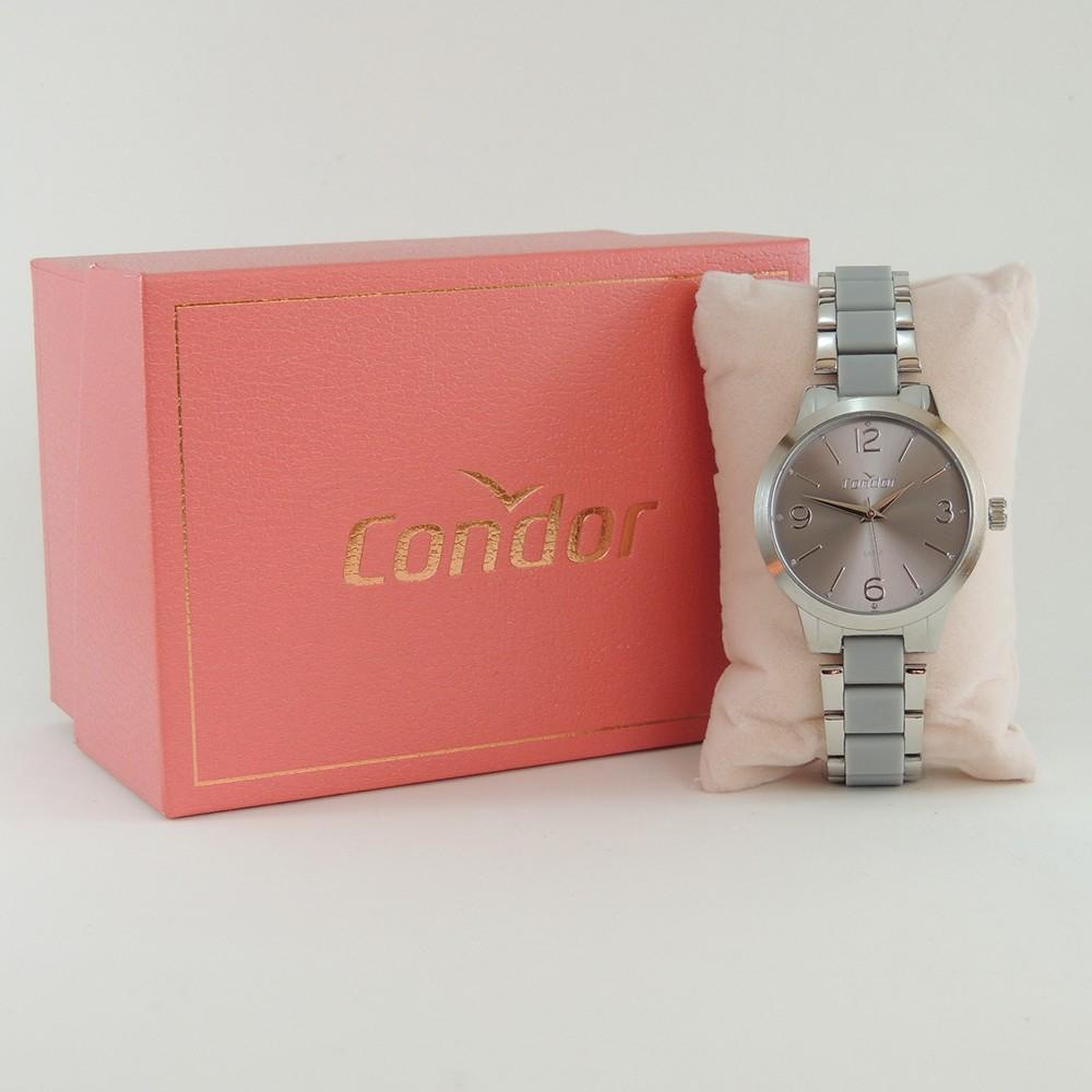 Relógio Feminino Condor Prata Cinza Analógico Aço Inoxidável CO2035MRE/K5C + Brinde Pulseira Brincos