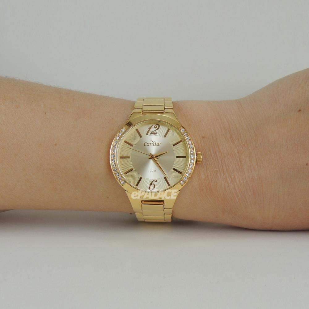 Relógio Feminino Dourado Condor de Luxo com Cristais Pulseira de Metal Aço Inoxidável COPC21ARA/K4X