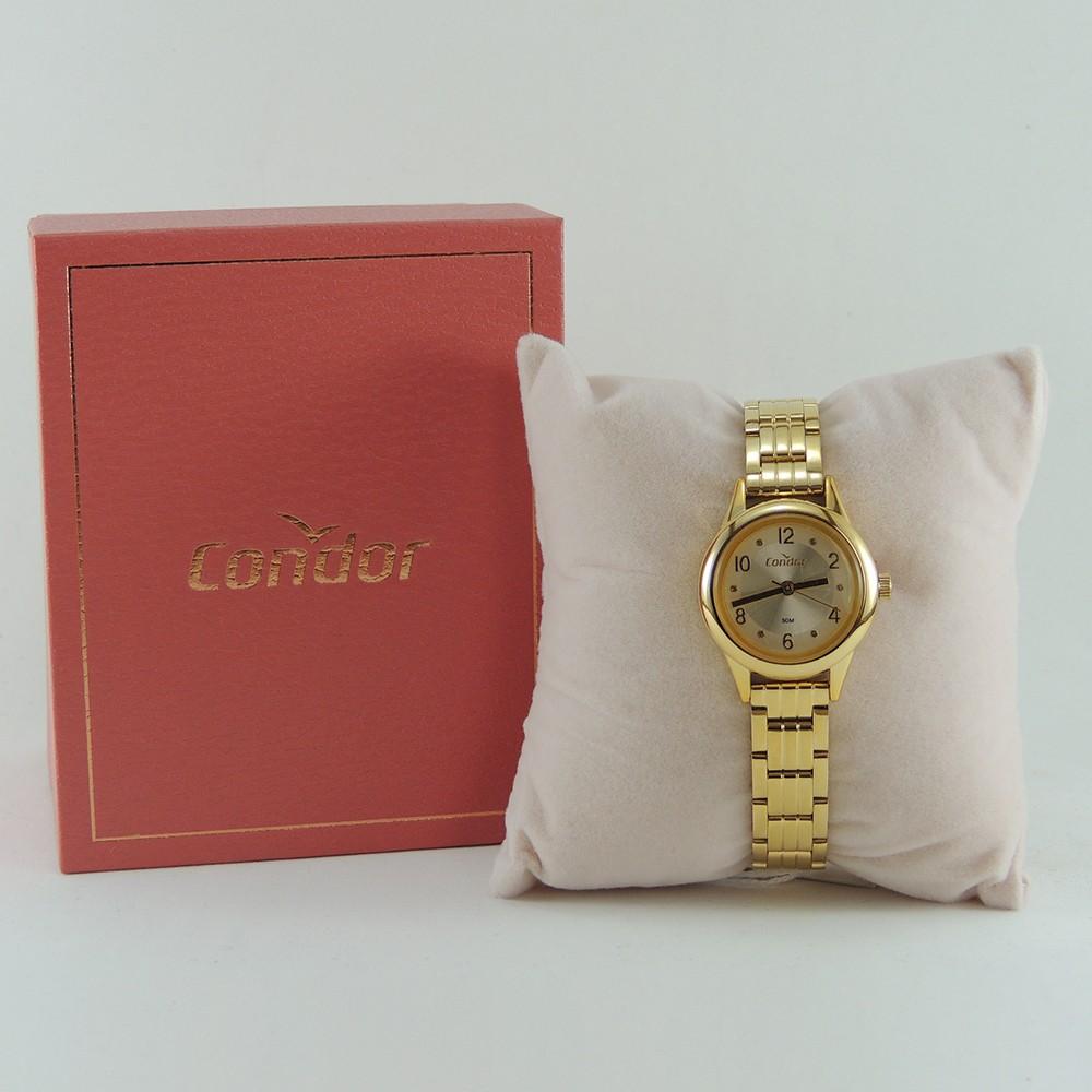 Relógio Feminino Dourado Pequeno Condor Mini Pulseira Estreita de Metal Aço Inoxidável COPC21AEBM/7D