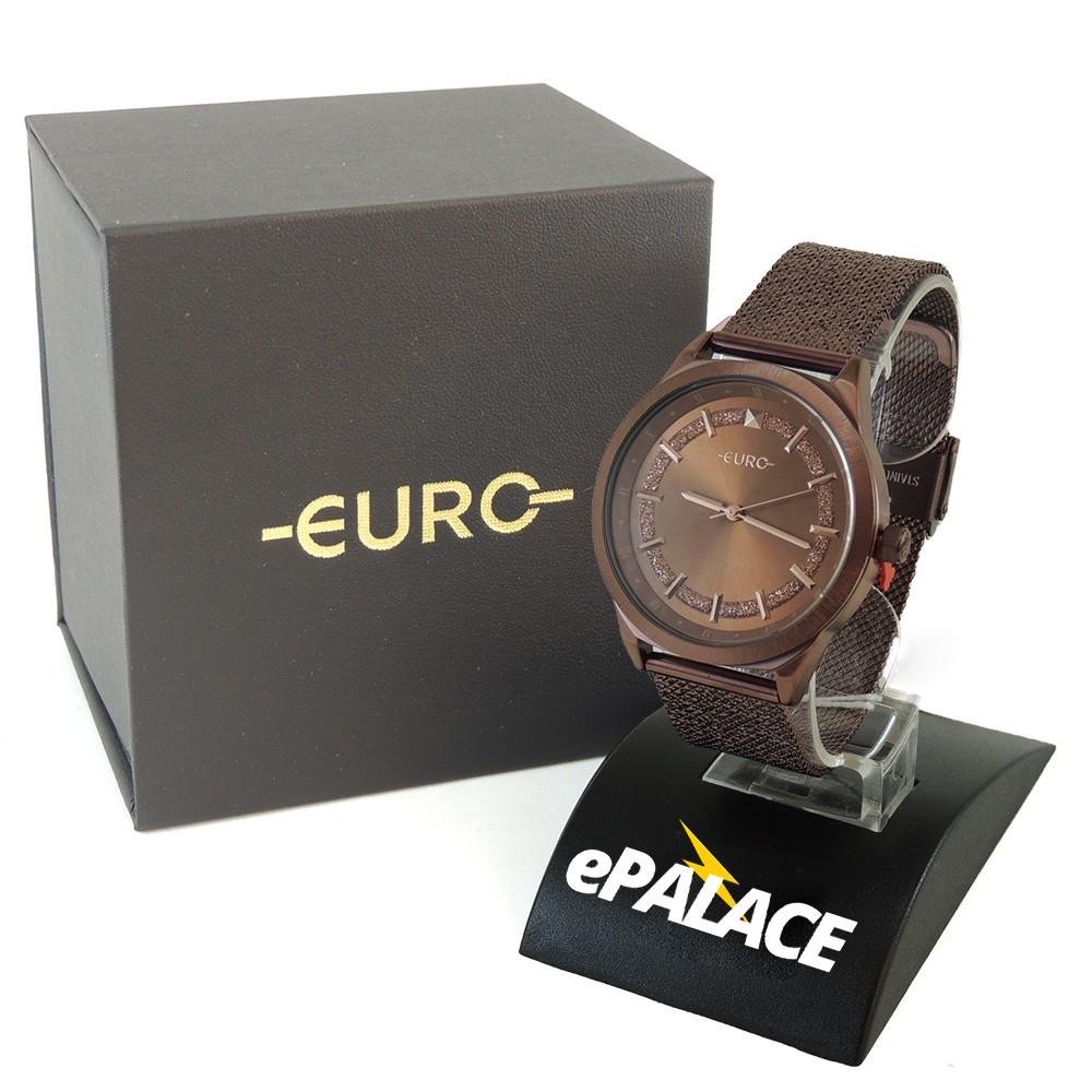 Relógio Feminino Euro Shiny Fashion Marron Chocolat Brilho Pulseira Mesh Aço Inoxidável EU2036YPX/4M