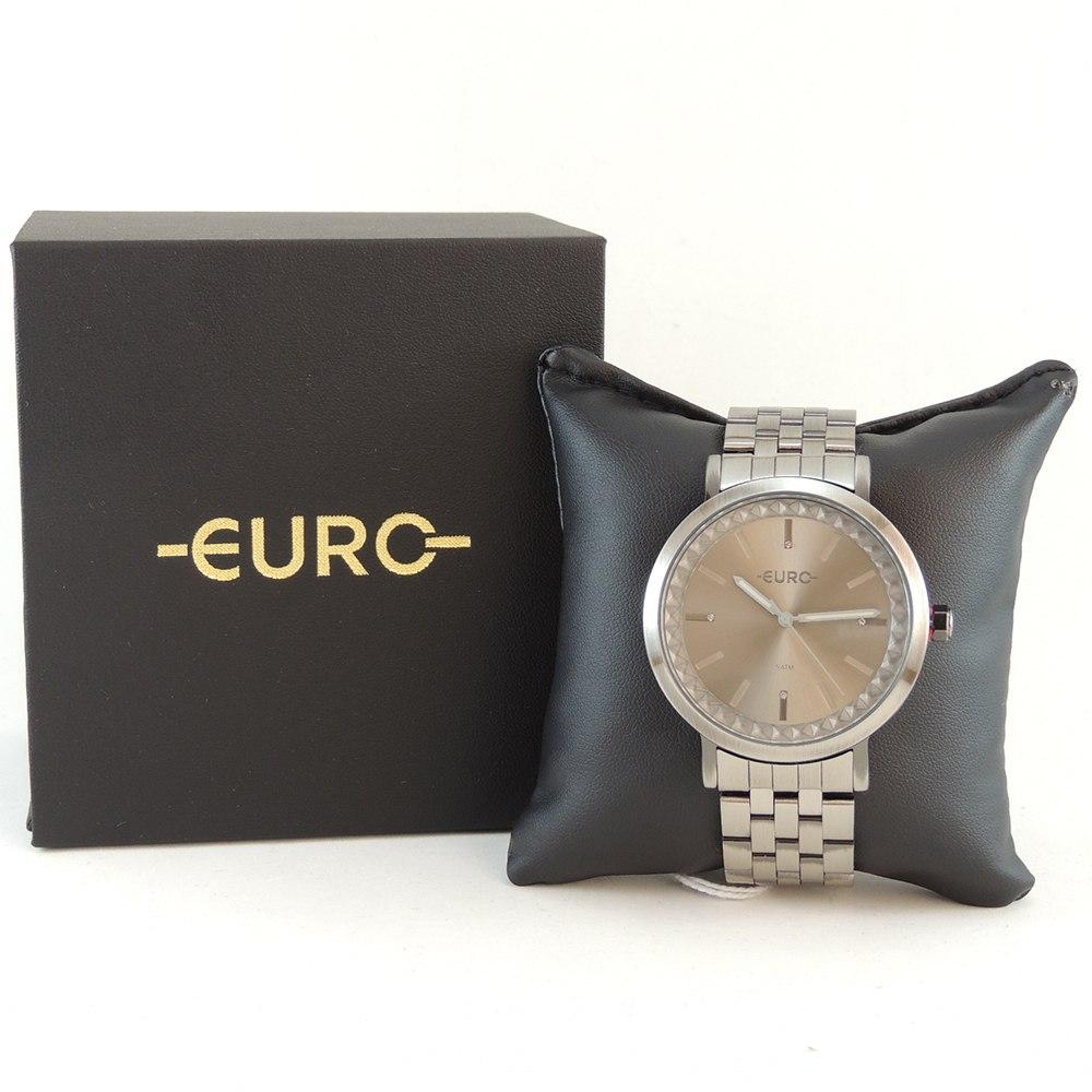 Relógio Feminino Fashion Prata Fosco Euro Minimal Spikes com Brilhos Aço Inoxidável EU2036YOS/4F