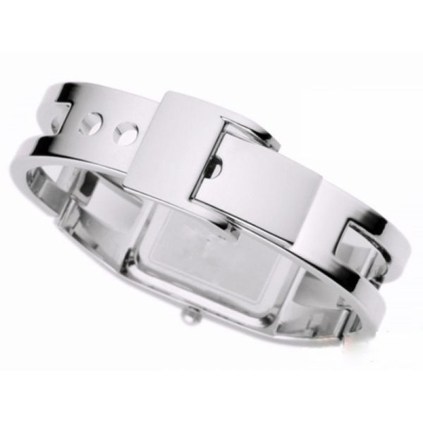 Relógio Feminino Kimio KW1601 Prata Preto Retangular Bracelete Prateado