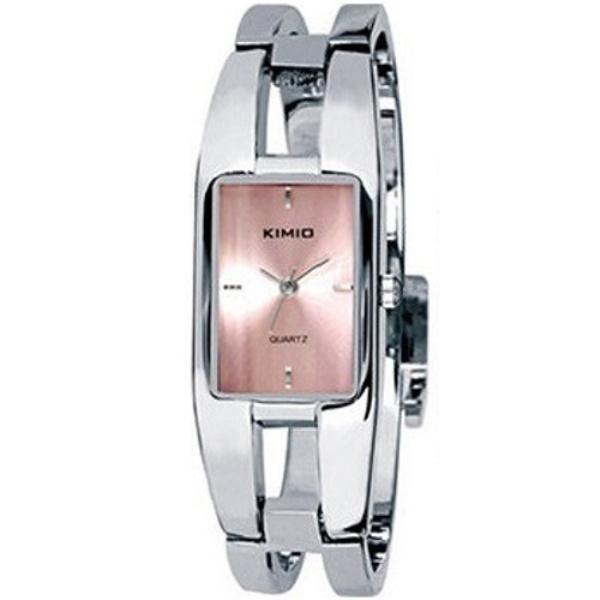 Relógio Feminino Kimio KW1601 Prata Rosa Retangular Bracelete Prateado