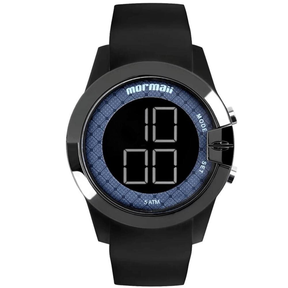 Relógio Feminino Mormaii Maui Digital Preto Azul À Prova D'água Pulseira de Silicone MO13001A/8A