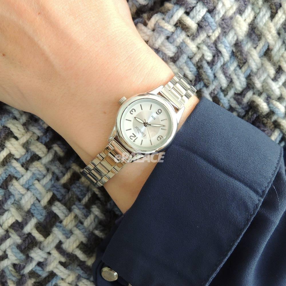 Relógio Feminino Prata Pequeno Condor Mini Pulseira Estreita de Metal Aço Inoxidável COPC21AEDB/7K