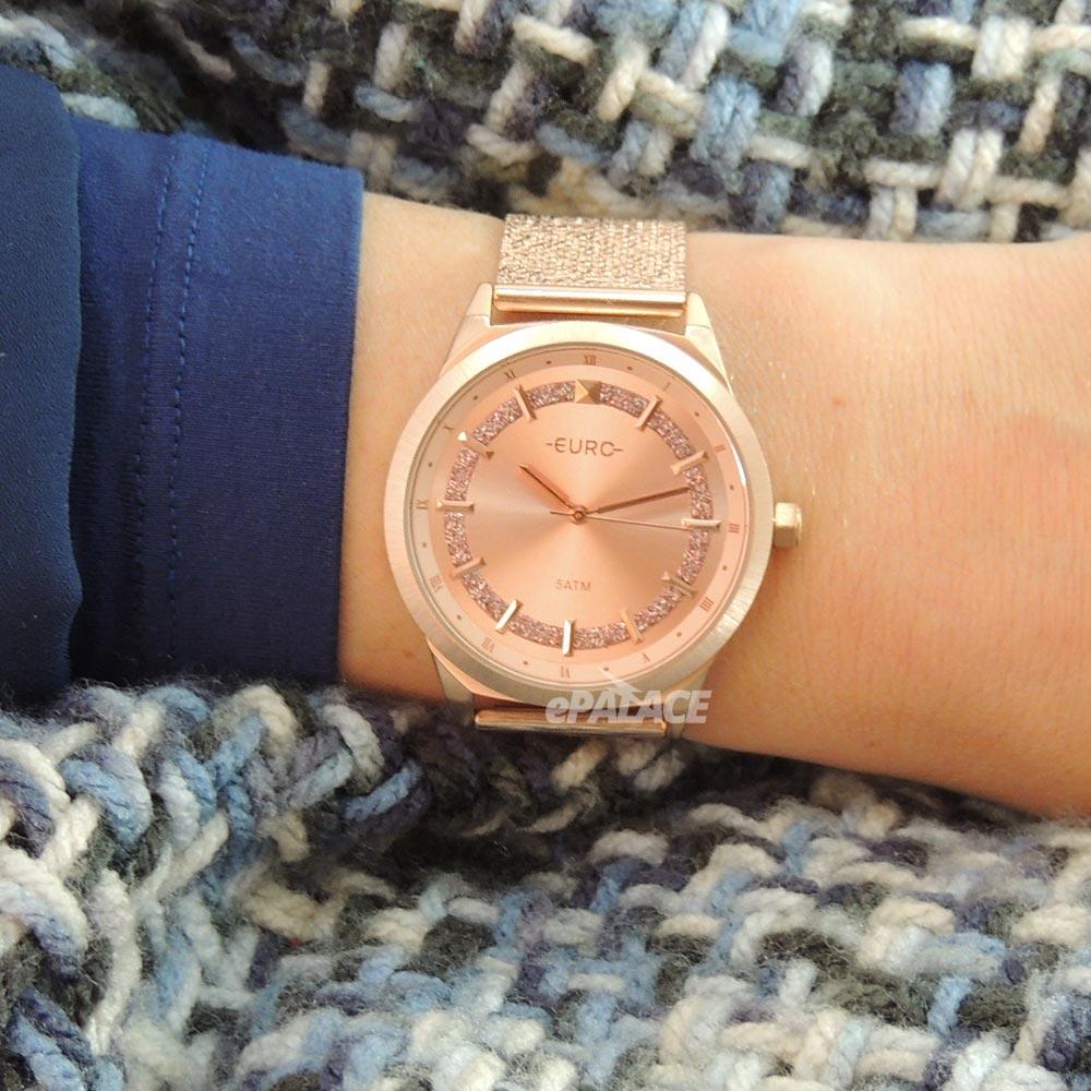 Relógio Feminino Rose Euro Shiny Luxuoso Com Brilhos Pulseira Mesh de Aço Inoxidável EU2036YPU/4J