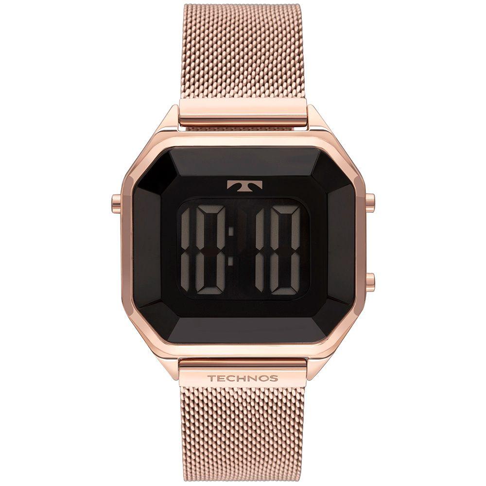 Relógio Feminino Technos Crystal Rosê Quadrado Digital À Prova D'água Pulseira de Aço BJ3851AK/4P