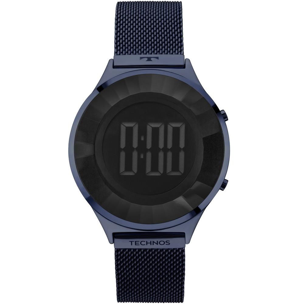 Relógio Feminino Technos Elegance Crystal Azul Marinho Digital Pulseira Mesh de Aço BJ3572AC/4P