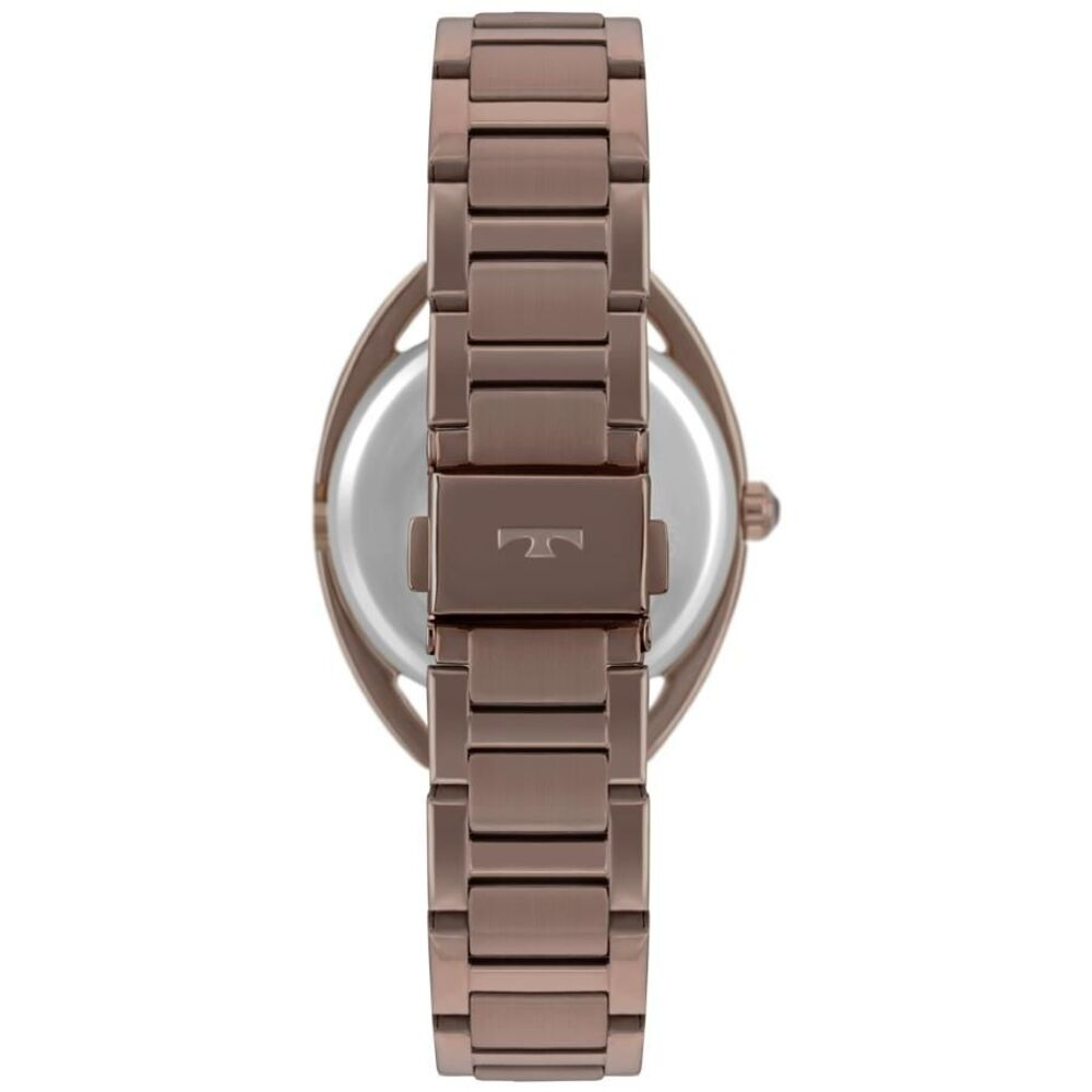 Relógio Feminino Technos Elegance Crystal Marron Com Cristais Luxo Pulseira de Aço Inox 2035MRE/4M