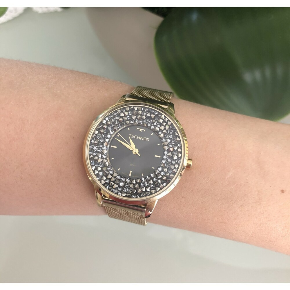 Relógio Feminino Technos Elegance Crystal Swarovski Dourado Luxo Pulseira Mesh de Aço 2035MLG/4C