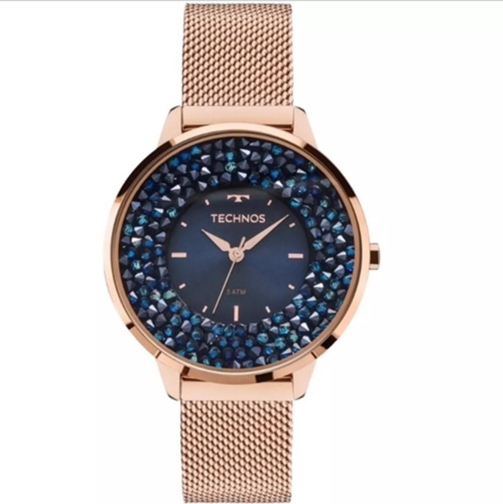 Relógio Feminino Technos Elegance Crystal Swarovski Rosê Azul Luxo Pulseira de Aço 2035MLE/4A