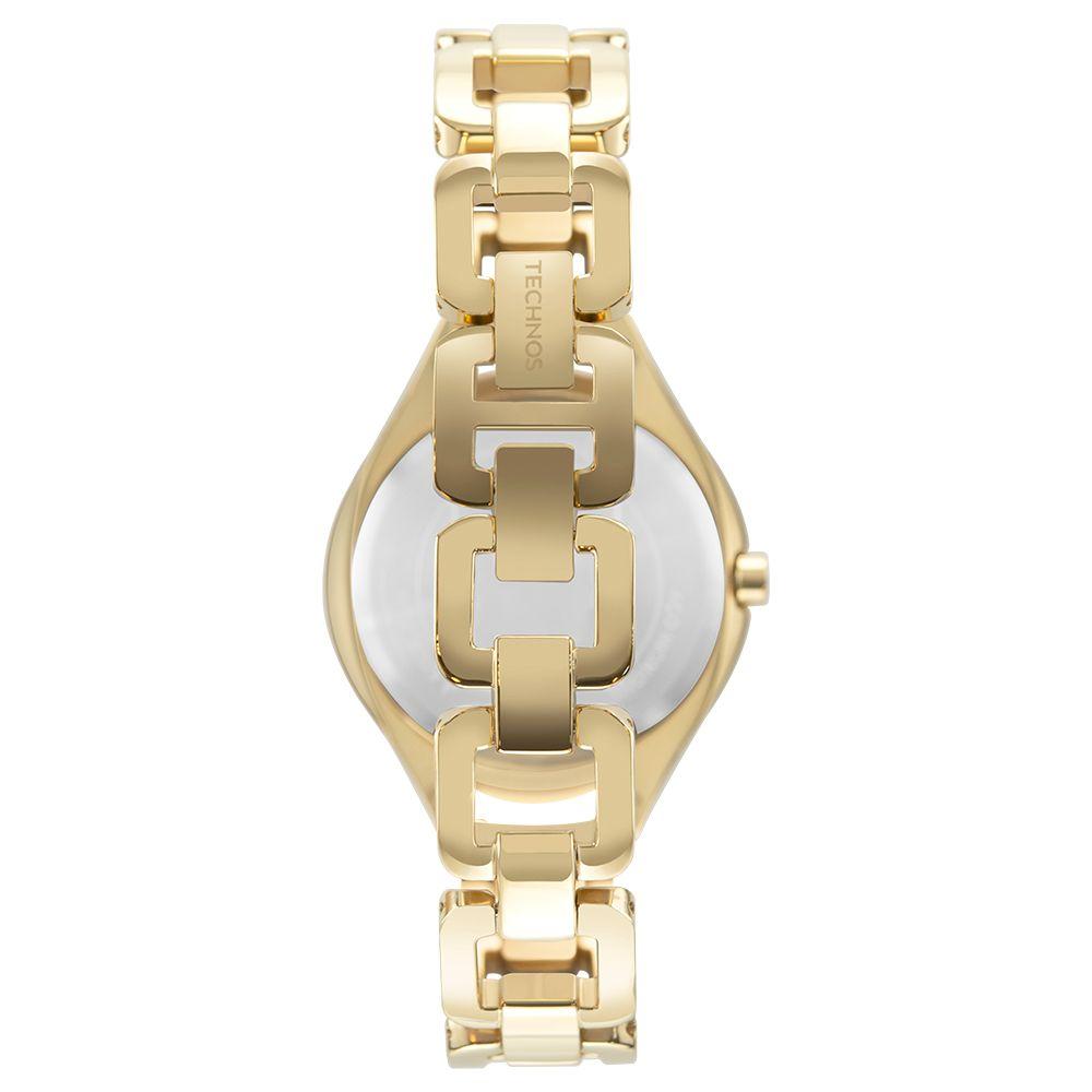 Relógio Feminino Technos Elegance Elos Dourado com Brilhos Aço Inoxidável Máquina Japonesa GL20HM/1X