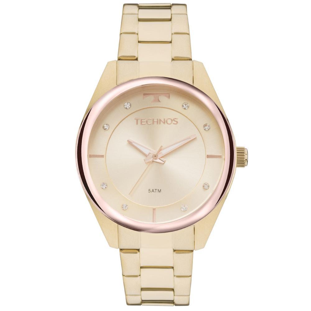 Relógio Feminino Technos Fashion Trend Dourado com Rose Gold Aço Inox Máquina Japonesa 2035MKWLOY/4X